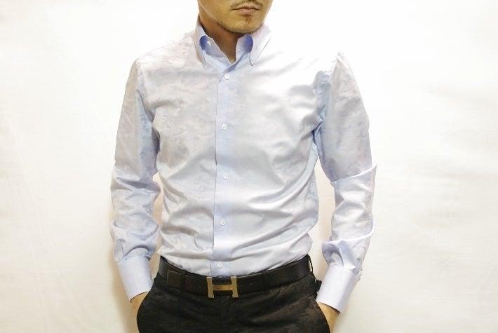 サックスブルーカモフラシャツ