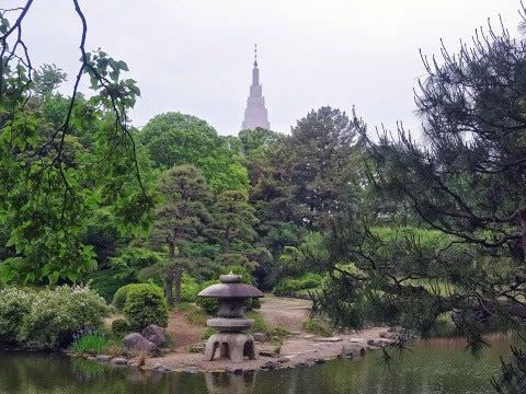 庭園と代々木ドコモビル,新宿御苑〈著作権フリー無料画像〉