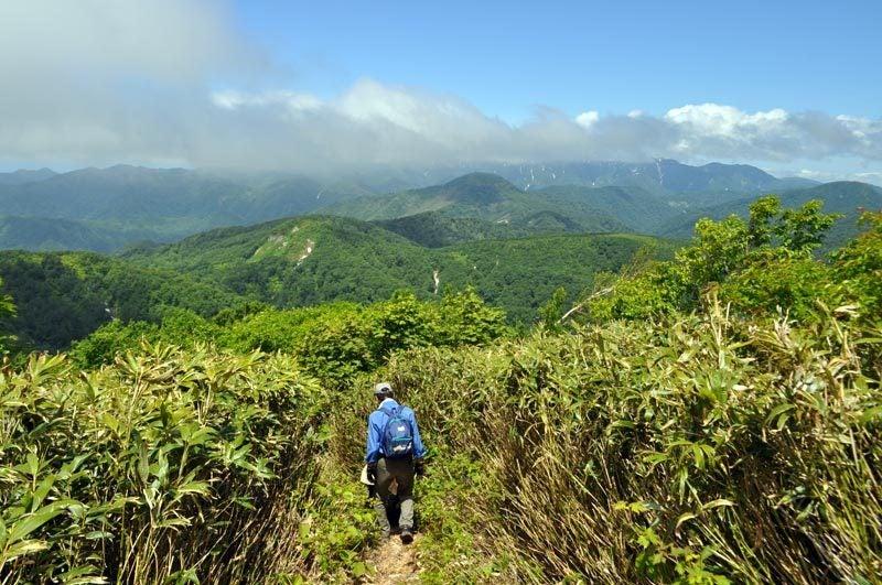 二ツ森の登山道から白神岳
