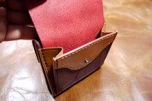 折り財布(赤×キャメル)池田町Kさん1507-3