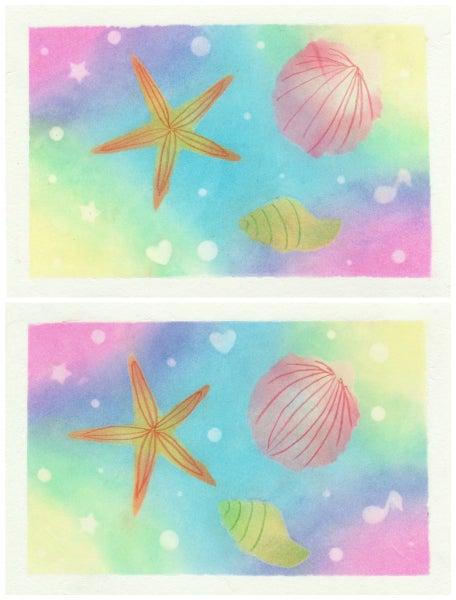 虹色の海(ダイソーパステル)