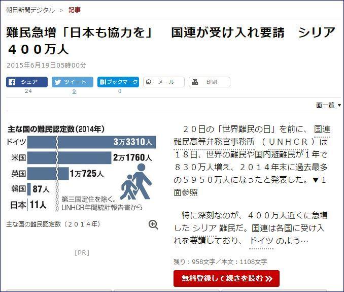 朝日新聞シリア難民