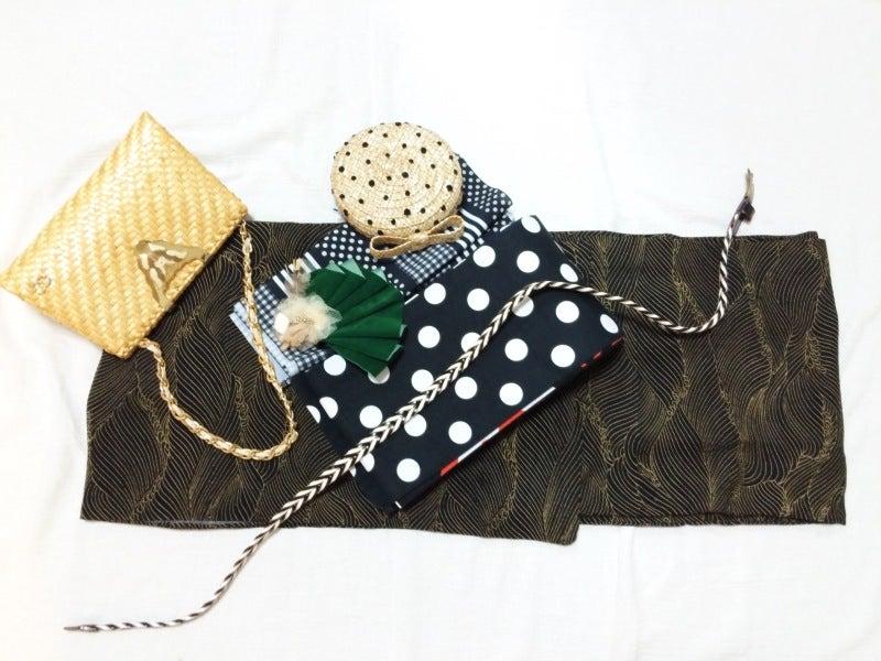 麦わらリボンのヘッドドレスと着物コーディネート