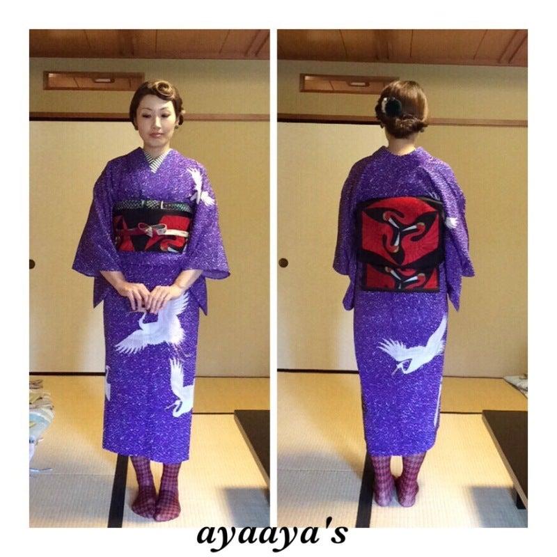 鶴のアンティーク単衣着物コーディネート