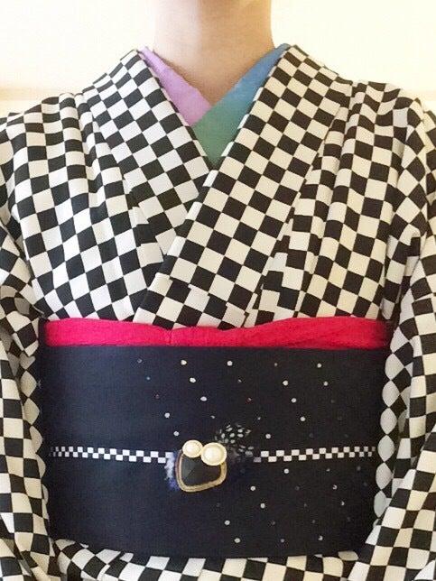 市松着物でシンプルモダンコーディネート