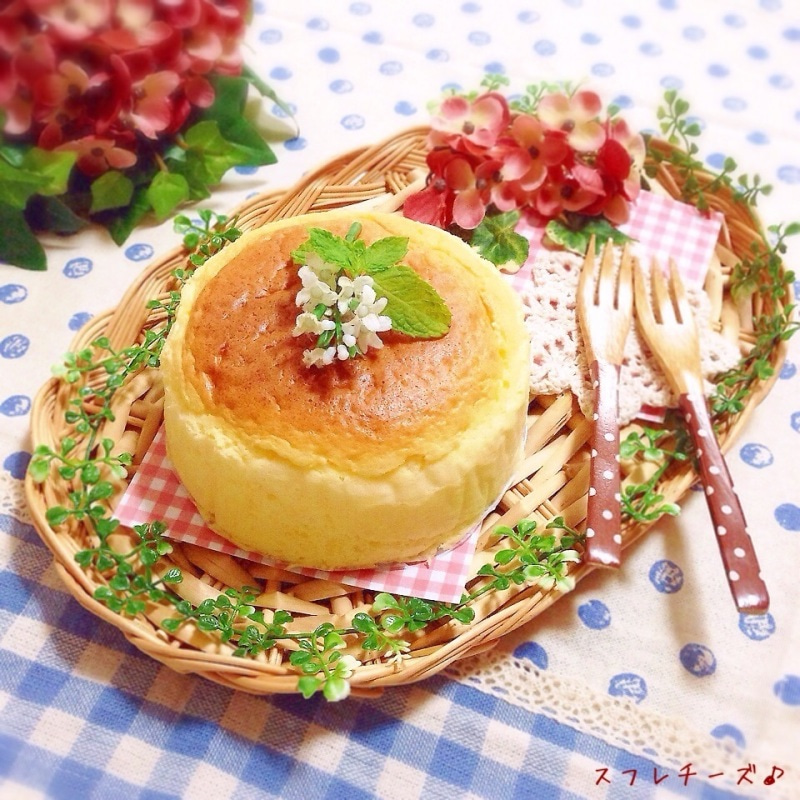 材料3つ♡ふわふわシュワシュワ~なスフレチーズケーキ♪