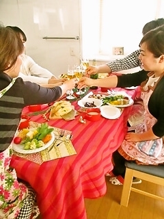 柏オーガニック料理教室 クリスマス乾杯