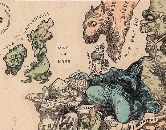 Carte drôlatique d'Europe pour 1870 2
