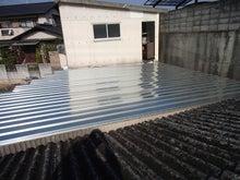 車庫の屋根の張り増し工事