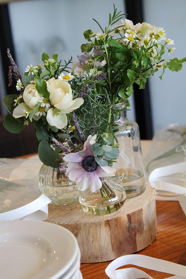 装花,ガラスボトル,瓶,丸太,ナチュラル