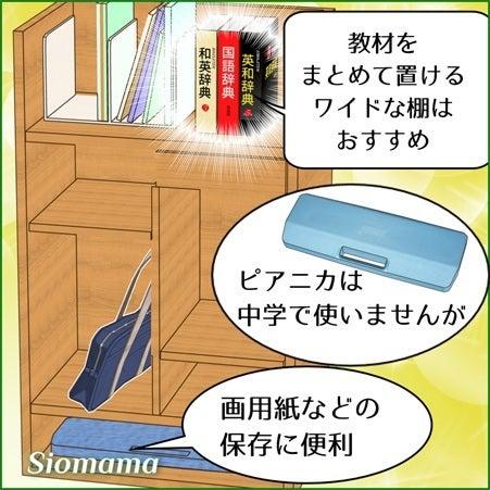 ワイドタイプは中高生になたとき一列に教科書を並べられて便利だと描いている