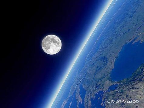 満月と地球