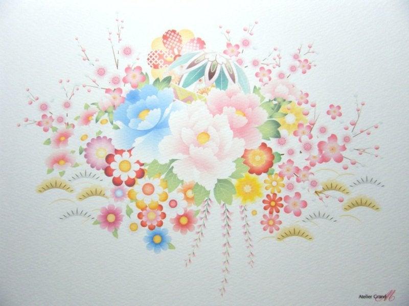 和柄の花-台紙-