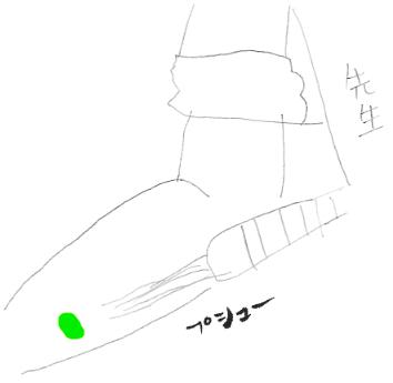 ほら緑色のレーザーだよ