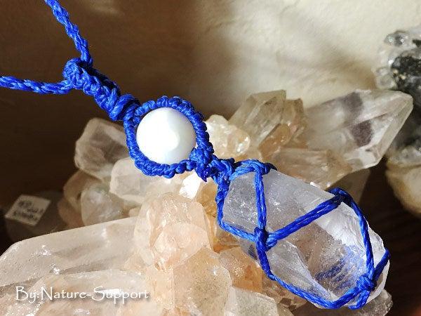 マクラメ編み教室-水晶ポイント包み編み01