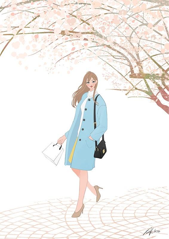 桜 花見 イラスト 女性