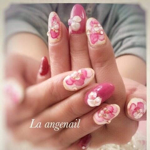 たらしこみピンク花