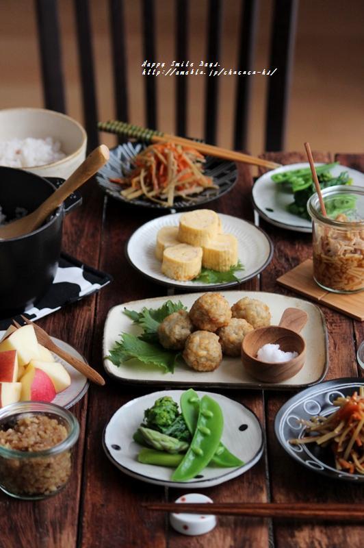 レンコンお豆腐団子朝ごはん。