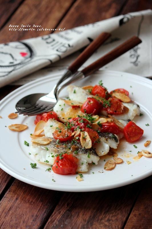 タラのソテーハーブトマトソース。