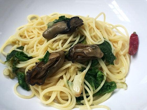 今月のクレニオセラピーセミナー賄い(牡蠣のコンフィとわさび菜のペペロンチーノ)