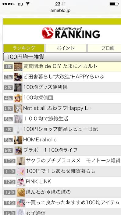 ブログランキング100円均一雑貨1位インポイント