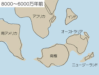 分裂したゴンドワナ大陸