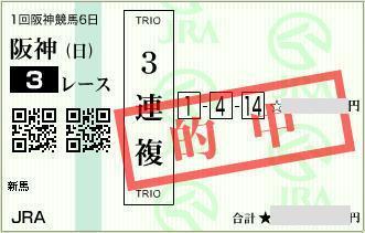 2016年3月13日阪神3R3連複