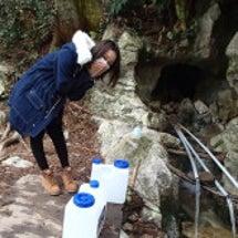 水汲み@追間ヶ池