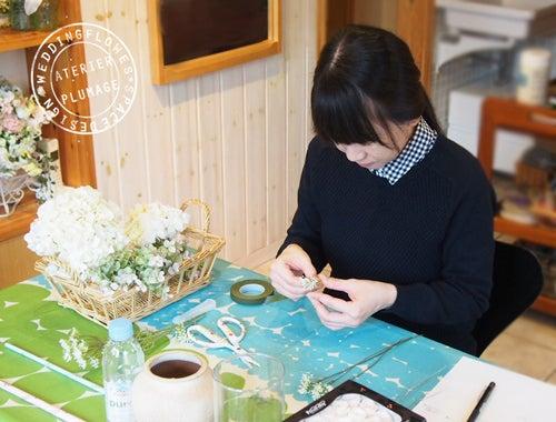 東京手作り教室レッスンプリザーブドフラワーブーケ