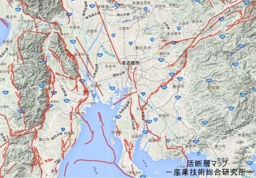 東海地方の活断層マップ