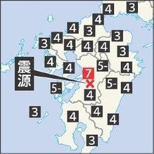熊本地震震源周辺各地の震度の分布