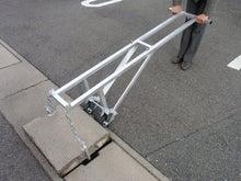 排水側溝の溝蓋を軽く持ち上げる「溝蓋持ち上げ機」