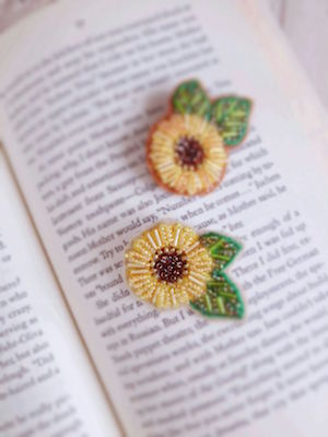 ビーズ刺繍 向日葵 ひまわり ブローチ