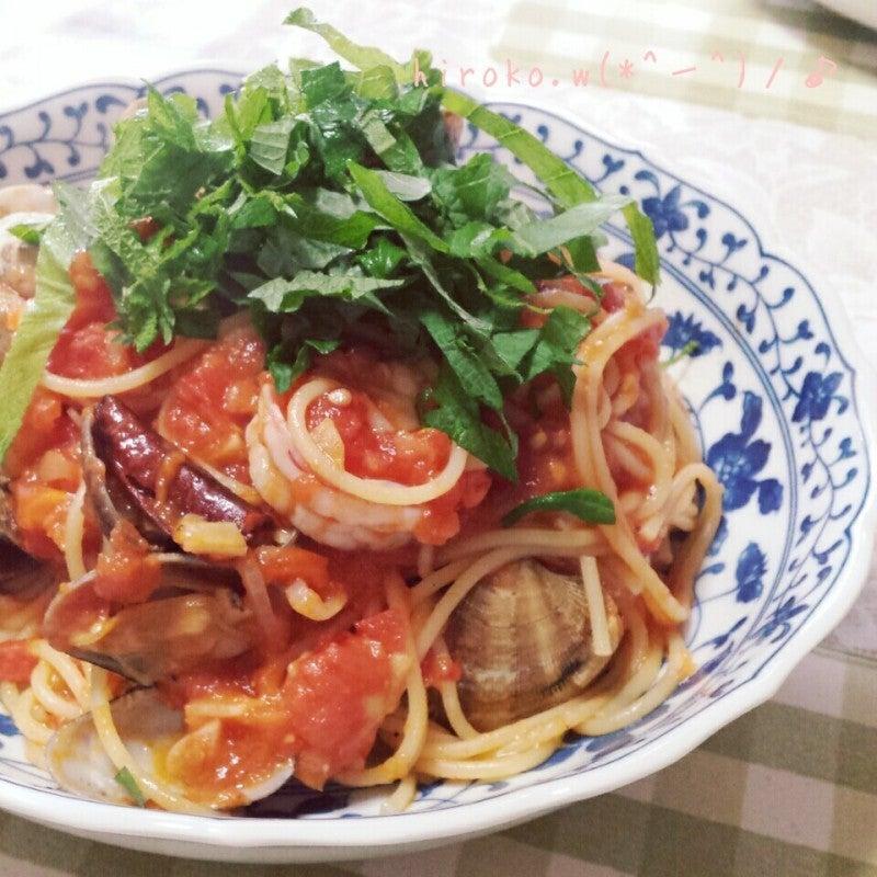 あさりと海老のうまうまトマトソーススパゲティー