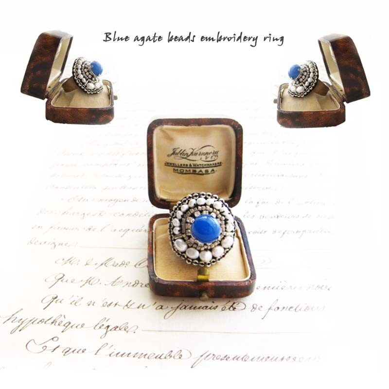 天然石ブルービーズ刺繍指輪