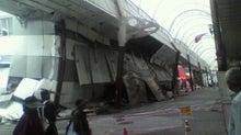 倒壊した商店街