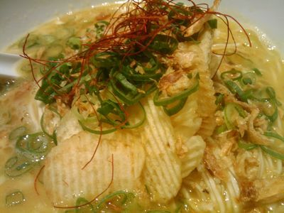 ポテチがあくせんとになってるカレーラーメン(リゾット風):麺屋やまもと@七間町
