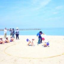 竹野浜で相撲大会!