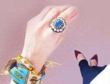 ブルーアゲートのビーズ刺繍リング/指輪