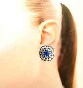 海を感じるマリンブルーをまとう!華やぐ天然石ブルー刺繍イヤリング/ピアス