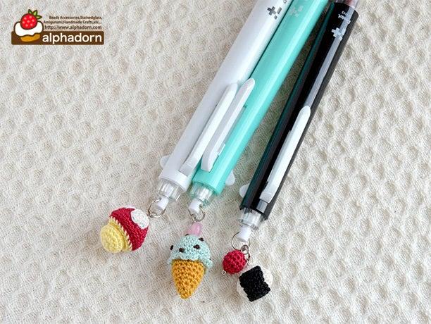 あみぐるみスイーツ&フードの3色ボールペン