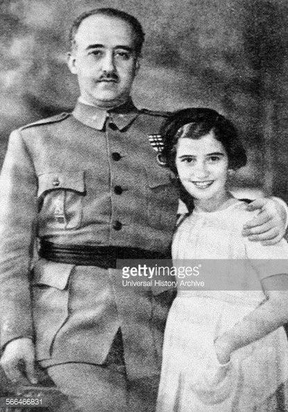 フランコ総統、娘のカルメン・フランコ