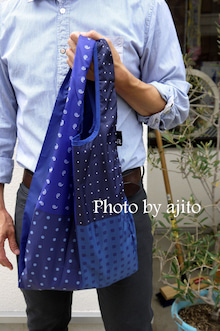 男性でも持ちやすいエコバッグネクタイ柄アジト
