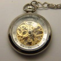スケルトンの提げ時計