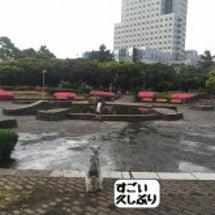 雨上がりの噴水広場