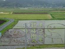 北斗市のキャラクター「ずーしーほっきー」とお米「ふっくりんこ」のキャラクターがデザインされています。 田んぼアートは、