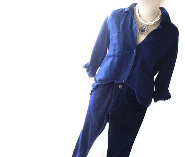 マリンブルービーズ刺繍ブローチネックレス