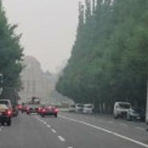 雨に煙る町
