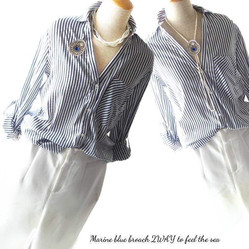 天然石ビーズ刺繍ブローチネックレス