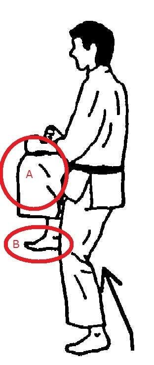 前蹴り 膝のかい込み